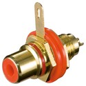 Гніздо,FreeEnd-RCA,[10 шт],/F Panel socket Metal Gold Red,червоний